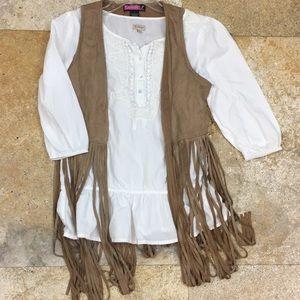 Western tassel vest faux sued leather size Small